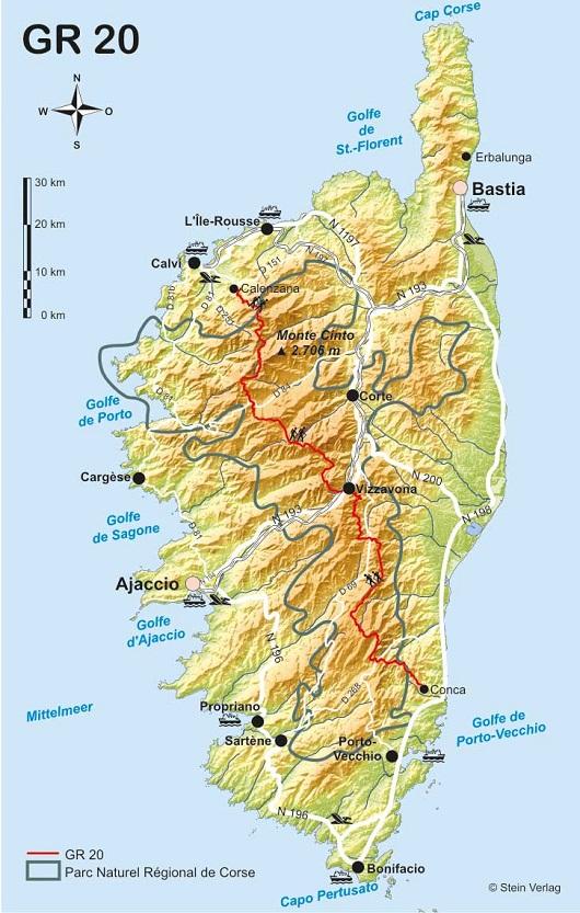 Die Landkarte von Korsika - Die rote Linie ist der GR20